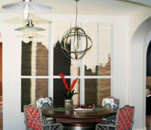game table wall art and light fixture